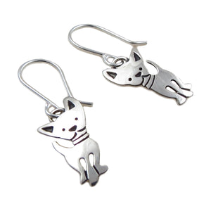 Chihuahua Dog 925 Sterling Silver Drop Earrings