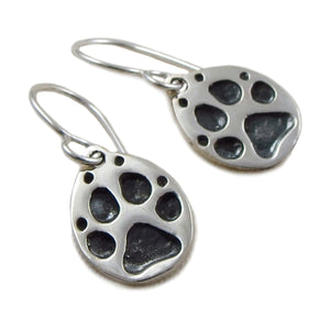 925 Silver Animal Dog Cat Paw Print Drop Earrings