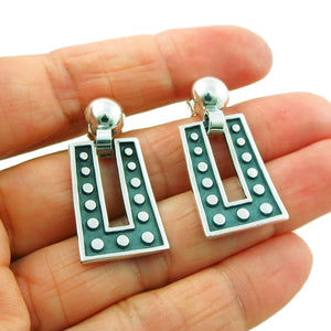 Melesio Rodriguez 950 Silver Domino Two Tone Earrings Gift Boxed