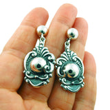 Solid 950 Silver Designer Scroll and Bead Earrings Gift Boxed
