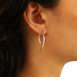 925 Silver Hounds Tooth Two Way Drop Earrings