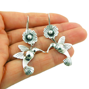 Hummingbird and Flower 925 Sterling Silver Earrings