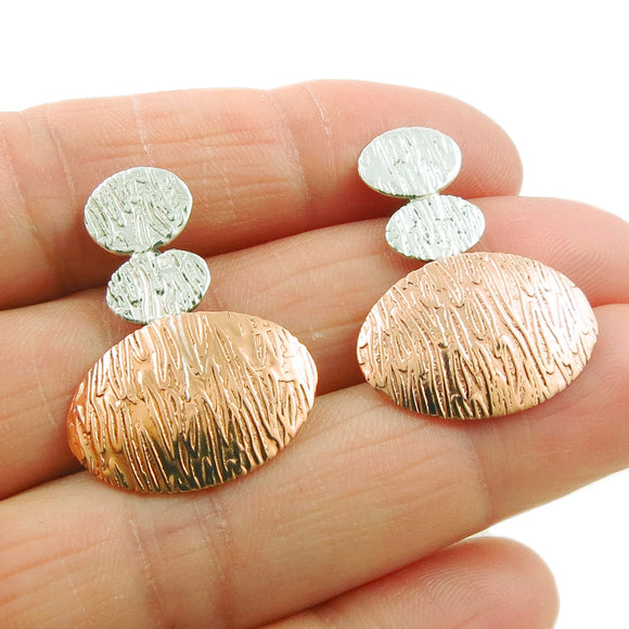 925 Silver and Copper Textured Triple Drop Earrings