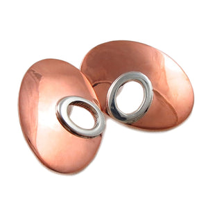 925 Silver and Polished Copper Oval Drop Earrings
