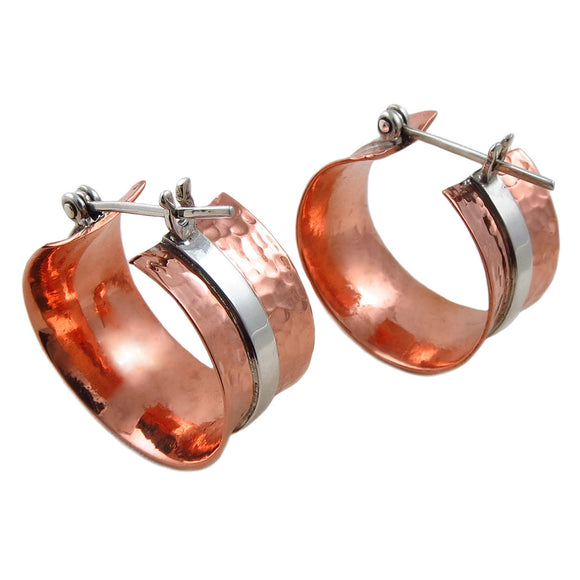 Wide 925 Silver and Hammered Copper Creole Hoops Circle Earrings