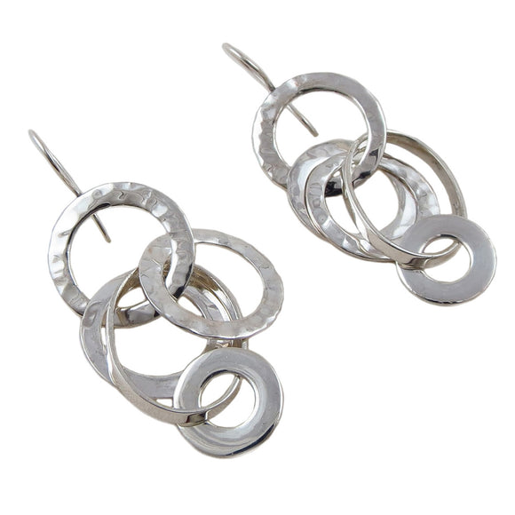 Long 925 Sterling Silver Designer Multi Circle Drop Earrings