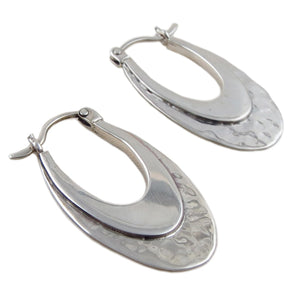 Long 925 Sterling Silver Guillermo Arregui Designer Creole Drop Earrings