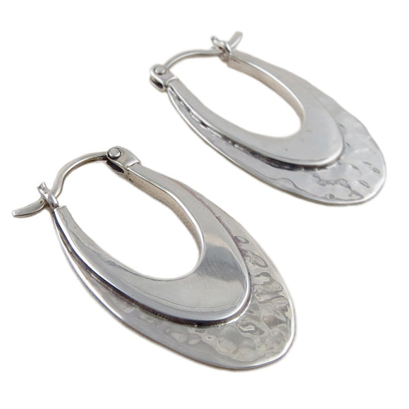 Long 925 Sterling Silver Polished and Hammered Creole Drop Earrings