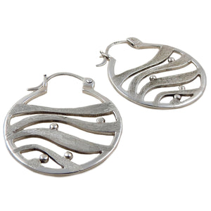 925 Brushed and Polished Sterling Silver Guillermo Arregui Circle Earrings