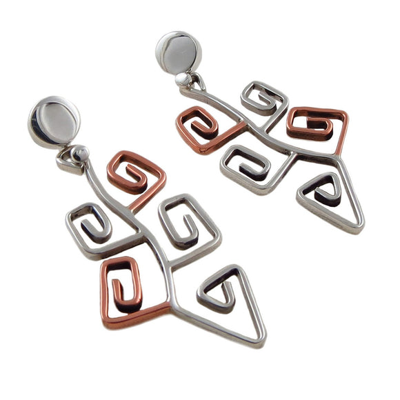 Exclusive Designer Copper and 925 Silver Maze Earrings