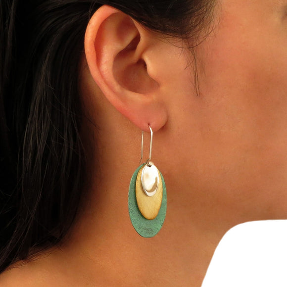 Long 925 Silver, Copper and Gold Mixed Metal Designer Oval Drop Earrings