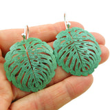 Large Solid Copper and 925 Silver Leaf Design Earrings