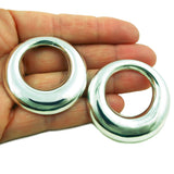 Large Circle 925 Polished Silver Earrings