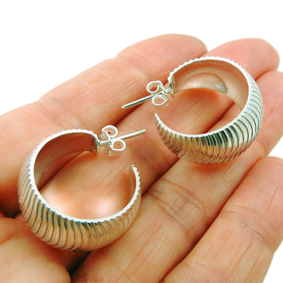 Wide 925 Sterling Silver Textured Hoop Drop Earrings