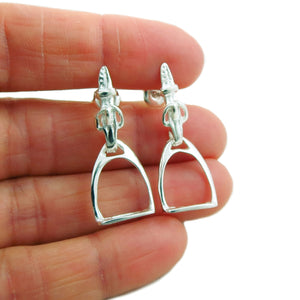 Horse Stirrup and Saddle Buckle 925 Silver Drop Earrings