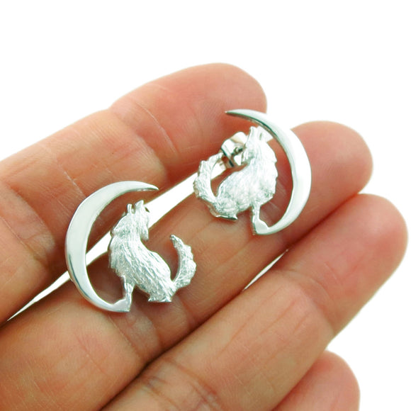 Howling Wolf and Moon 925 Sterling Silver Earrings