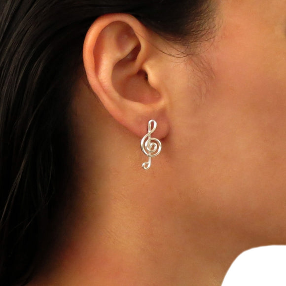 Solid 925 Silver Treble Clef Music Note Earrings