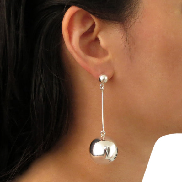Long Heavy Ball and Stick 925 Sterling Silver Earrings Gift Boxed