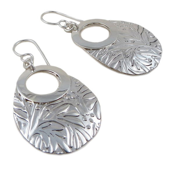 Long 925 Sterling Silver Drops Polished and Patterned Earrings