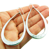 Large 925 Sterling Silver Three-Dimensional Hoop Drop Earrings