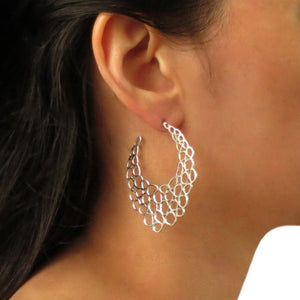 Honeycomb Design 925 Sterling Silver Earrings