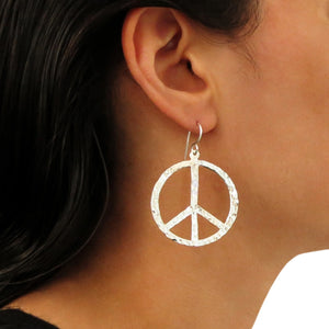Peace Symbol 925 Sterling Hammered Silver Hoop Earrings Gift Boxed