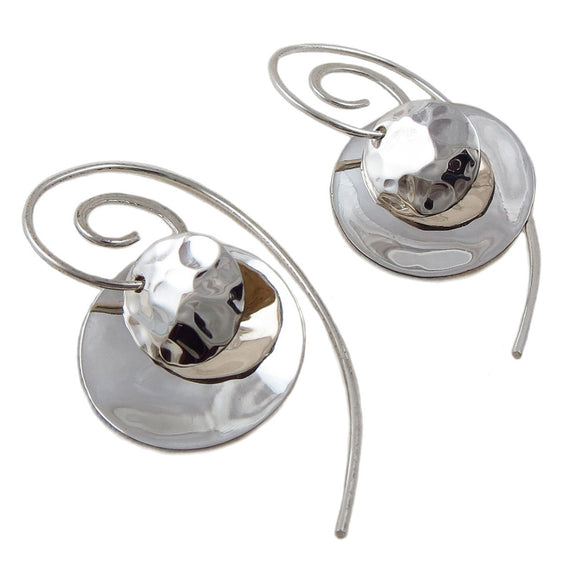 Long 925 Silver Spiral 3 Way Circle Drop Earrings Gift Boxed