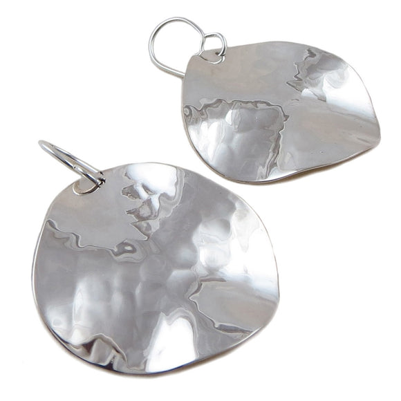 Large Hammered 925 Silver Drop Earrings Gift Boxed
