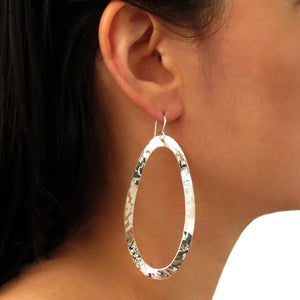 Long 925 Silver Curved Hammered Drop Earrings