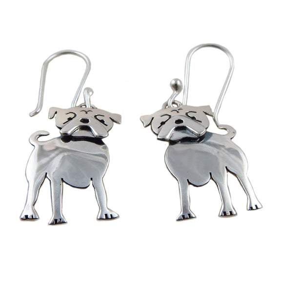Bull Mastiff 925 Silver Dog Earrings
