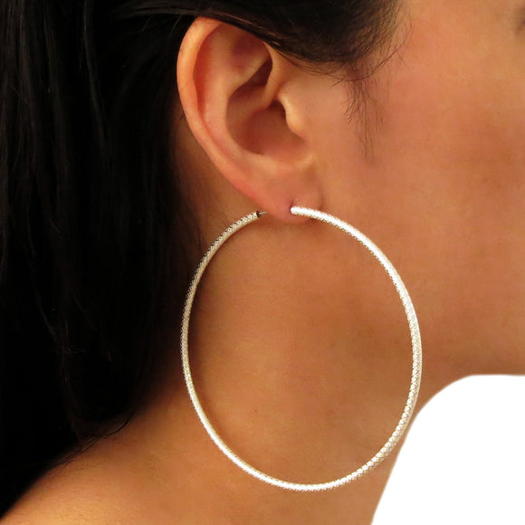 Large Hoops 925 Silver Circle Earrings Gift Boxed
