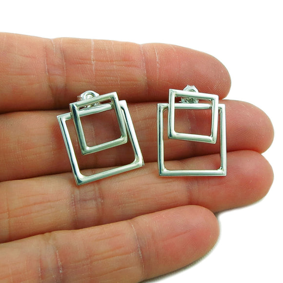 3 in 1 Square Hoops 925 Silver Ear Jacket Earrings