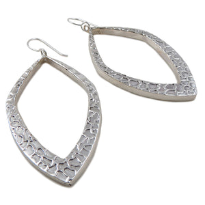 Long Sterling 925 Silver Three Dimensional Hoops Earrings Gift Boxed