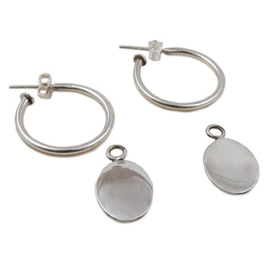 Three Way Hoops 925 Silver Oval Drop Earrings Gift Boxed