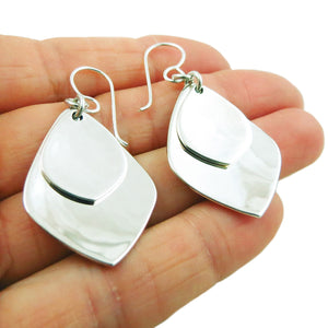 Solid 925 Sterling Silver Double Drop Earrings Gift Boxed