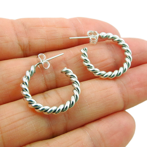 Twisted 925 Sterling Silver Small Circle Hoop Earrings