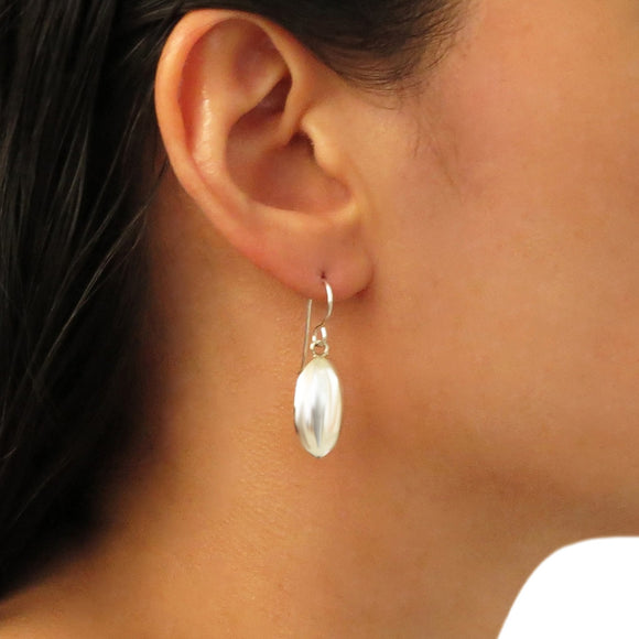 925 Sterling Silver Oval Drop Earrings