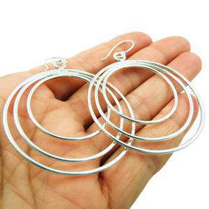 Large Triple Hoop 925 Sterling Silver Circle Drop Earrings