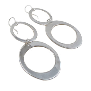 Large Double Drop 925 Sterling Silver Hoop Earrings