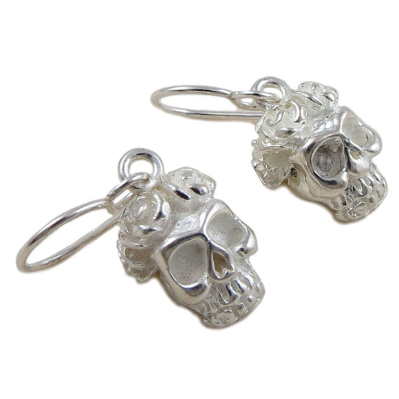 Day of the Dead 925 Silver Sugar Skull and Flowers Earrings