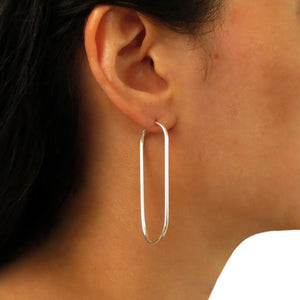 Long 925 Silver Oval Tube Hoop Earrings in a Gift Box