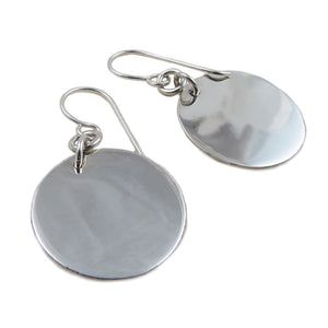 Solid 925 Sterling Silver Polished Circle Drop Earrings Gift Boxed