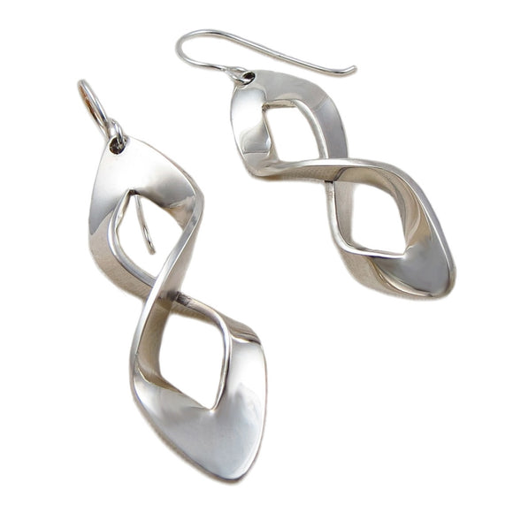 Infinity 925 Sterling Silver Polished Drop Earrings Gift Boxed