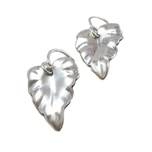 Curved Leaf 925 Sterling Silver Polished Drop Earrings in a Gift Box