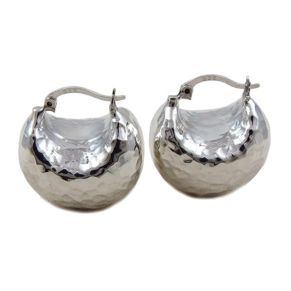 Wide 925 Sterling Silver Creole Hoop Earrings