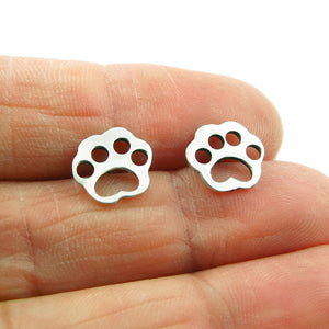 Small 925 Silver Dog Animal Paw Print Stud Earrings
