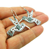 Bird and Flower Antiqued and Polished 925 Taxco Silver Earrings