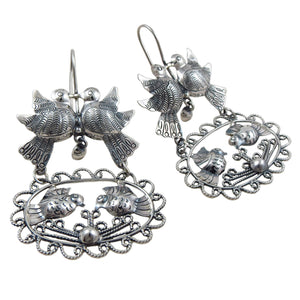 Long Sterling 925 Silver Lovebirds Dove Earrings Gift Boxed