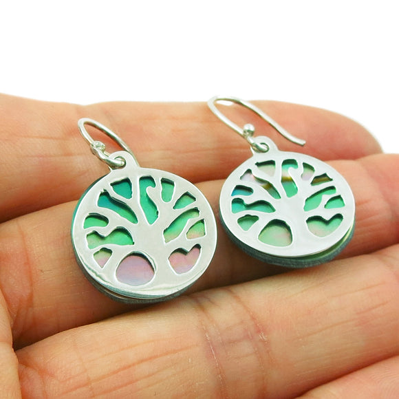 925 Silver Tree of Life and Abalone Circle Drop Earrings Gift Boxed