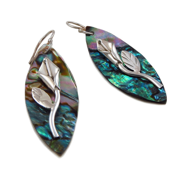 925 Silver Calla Lily Flower and Abalone Drop Earrings Gift Boxed
